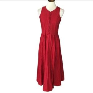 Vintage Styleworks Red Button Front Midi Dress